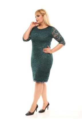 VOLİNAY Büyük Beden Yeşil Güpür Detay Kollu Abiye Elbise 1