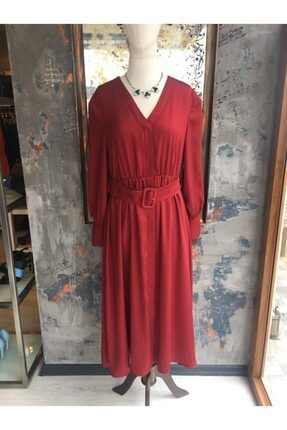 Ekol Kadın Bordo Midi Boy Bordo Elbise 0