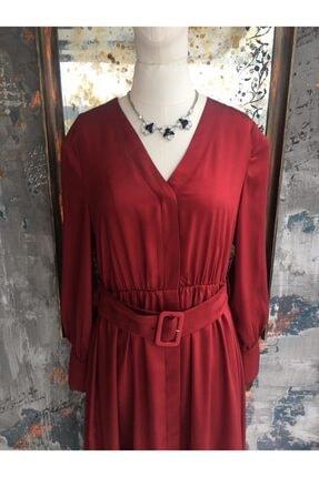 Ekol Kadın Bordo Midi Boy Bordo Elbise 1