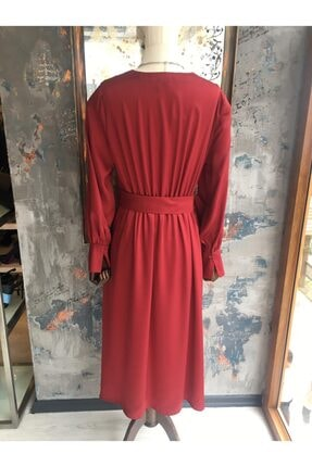 Ekol Kadın Bordo Midi Boy Bordo Elbise 2