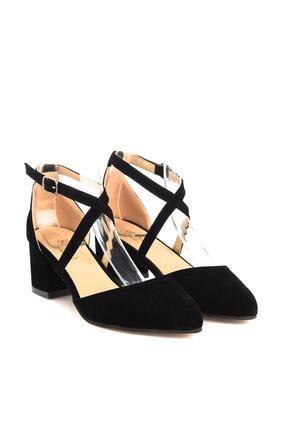 Soho Exclusive Siyah Süet Kadın Klasik Topuklu Ayakkabı 14392 2