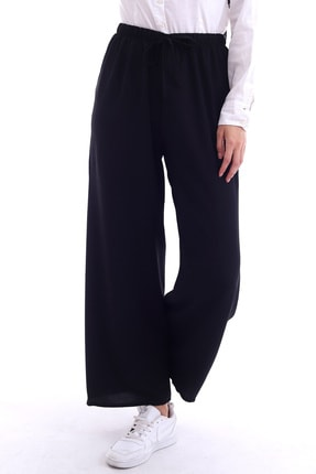 Butik Vanilin Kadın Siyah Beli Lastikli Bol Paça Rahat Kalıp Aerobin Pantolon 2
