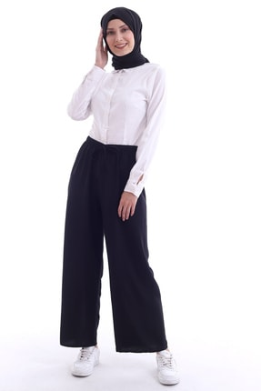 Butik Vanilin Kadın Siyah Beli Lastikli Bol Paça Rahat Kalıp Aerobin Pantolon 3
