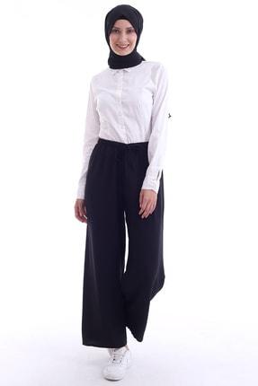 Butik Vanilin Kadın Siyah Beli Lastikli Bol Paça Rahat Kalıp Aerobin Pantolon 4