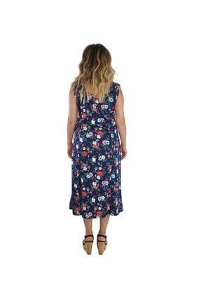 Dükkan Moda Kadın Büyük Beden Elbise Kalın Askılı Büzgülü Beyaz Çiçekli 4