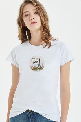 Collage Kadın Beyaz Baskılı T-shirt 0