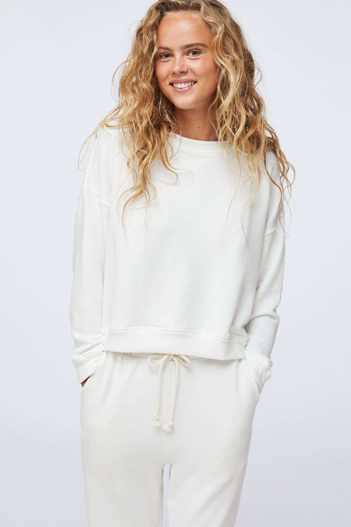 Oysho Kadın Ekru Pamuklu Sweatshirt 2
