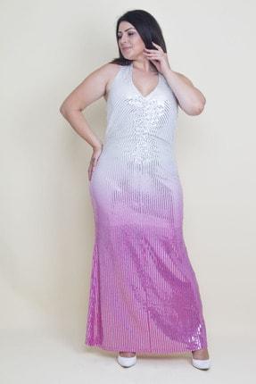 Şans Kadın Renkli Sırt Dekolteli Astarlı Payet Elbise 65N17592 1