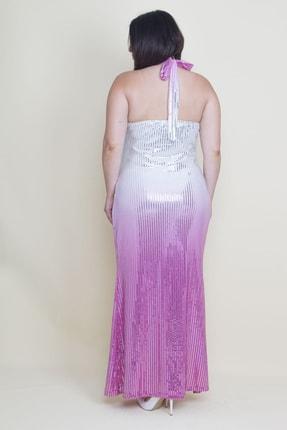 Şans Kadın Renkli Sırt Dekolteli Astarlı Payet Elbise 65N17592 2