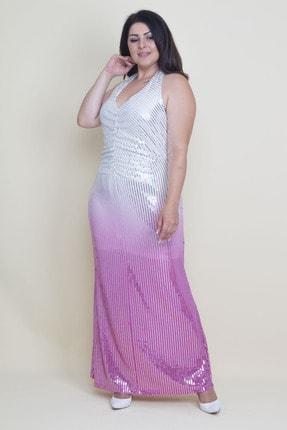 Şans Kadın Renkli Sırt Dekolteli Astarlı Payet Elbise 65N17592 4