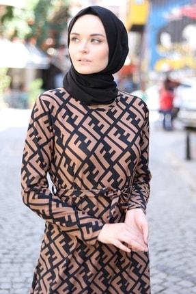 MODAEFA Kadın Kahverengi Siyah Elbise 1