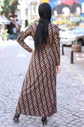 MODAEFA Kadın Kahverengi Siyah Elbise 2