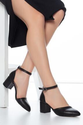 FEMA Kadın Siyah Tek Bant Kısa Topuklu Ayakkabı 0