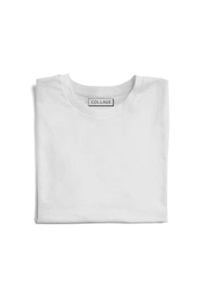 Collage Kadın Beyaz Antik Heykel Büst Baskılı Örme T-Shirt 1