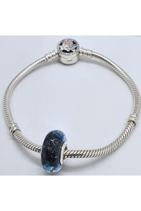 OEM Kadın Gece Mavisi Dalgalar Murano Gümüş Charm 4