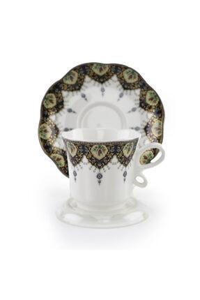 DANIA GLASSWARE 6 Kişilik Porselen Türk Kahvesi Fincan Takımı 0