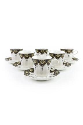 DANIA GLASSWARE 6 Kişilik Porselen Türk Kahvesi Fincan Takımı 1