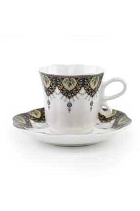 DANIA GLASSWARE 6 Kişilik Porselen Türk Kahvesi Fincan Takımı 2