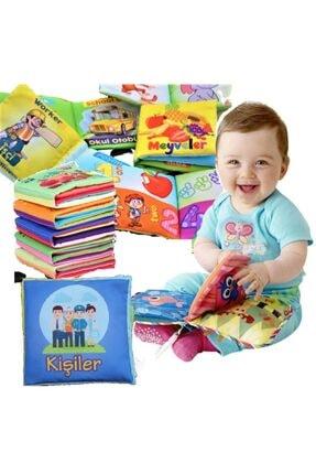 Bebek Eğitimi Unisex Bebek Bez Kitap Pofuduk Yıkanabilir Hışırtılı Kitap Seti 5'li 1