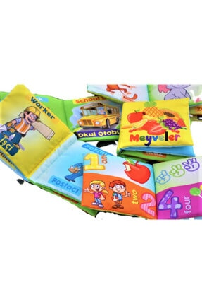 Bebek Eğitimi Unisex Bebek Bez Kitap Pofuduk Yıkanabilir Hışırtılı Kitap Seti 5'li 3