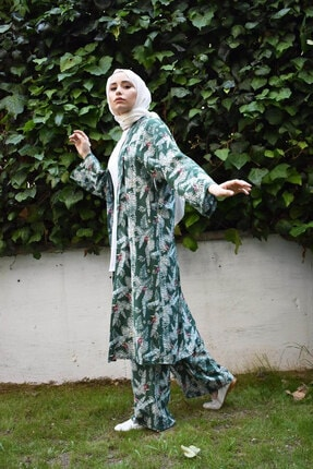 Mevazen Kadın Yeşil Desenli Kimona Ceket 1