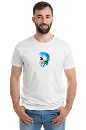 Collage Kiss Surfing Sport Hotel Waikiki Beach Baskılı Beyaz Erkek Örme Tshirt T-shirt Tişört T Shirt 0