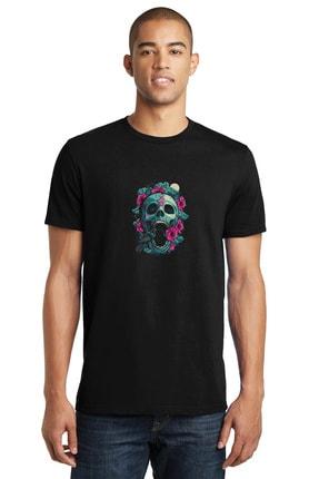 Collage Rose Kuş Owl Skull Baskılı Siyah Erkek Örme Tshirt T-shirt Tişört T Shirt 0