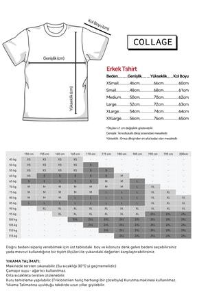 Collage Rose Kuş Owl Skull Baskılı Siyah Erkek Örme Tshirt T-shirt Tişört T Shirt 1