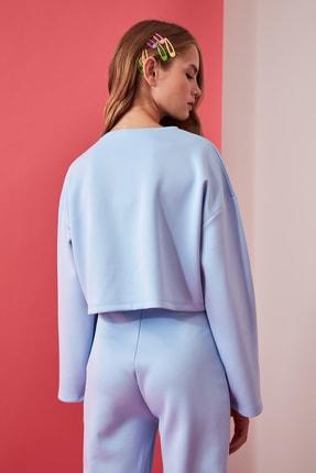 TRENDYOLMİLLA Mavi Crop Örme Sweatshirt TWOAW21SW0505 4