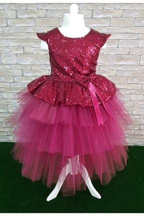Mixie Kız Çocuk Bordo Payetli Abiye Elbise 0
