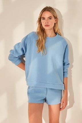 TRENDYOLMİLLA Mavi Basic Havlu Örme Sweatshirt TWOAW21SW0718 2