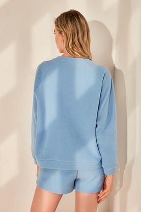 TRENDYOLMİLLA Mavi Basic Havlu Örme Sweatshirt TWOAW21SW0718 3