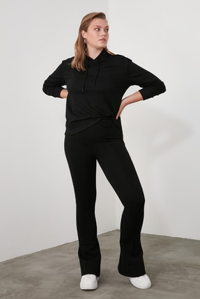 TRENDYOLMİLLA Siyah Flare Örme Pantolon TWOSS20PL0342 4