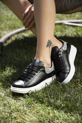 Ayakkabı Modası Kadın Siyah Gümüş Sneaker 5007-20-110001 1