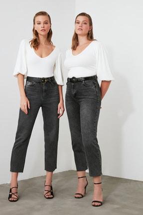 TRENDYOLMİLLA Antrasit Yüksek Bel Straight Jeans TWOAW21JE0079 0