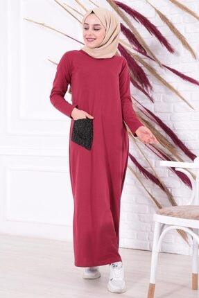 MODA GÜLAY Kadın Bordo Tek Cep Detaylı Uzun Penye Elbise 0