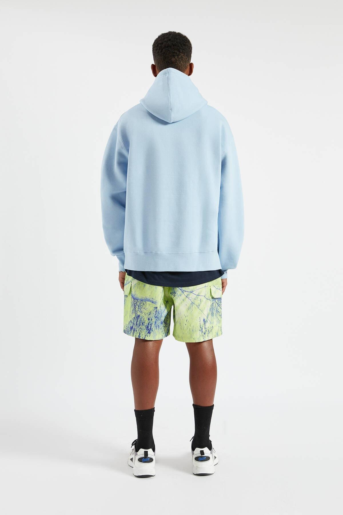 Pull & Bear Erkek Gök Mavisi Kapüşonlu Kanguru Cepli Basic Sweatshirt 09594513 2