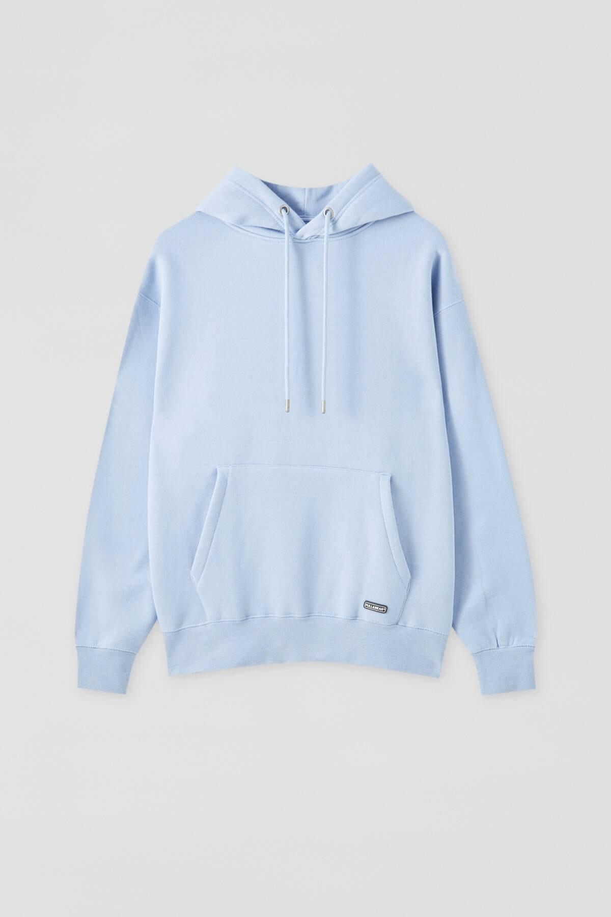 Pull & Bear Erkek Gök Mavisi Kapüşonlu Kanguru Cepli Basic Sweatshirt 09594513 4