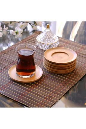 GÖNÜL Yuvarlak 6'lı Bambu Çay Tabağı 0