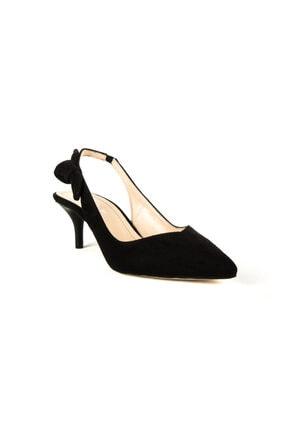 Divum Kadın Siyah Süet Topuklu Ayakkabı 00744 1