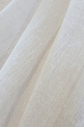 Belle Cose Keten Görünümlü Kırık Beyaz Tül Perde 250x250 cm 0