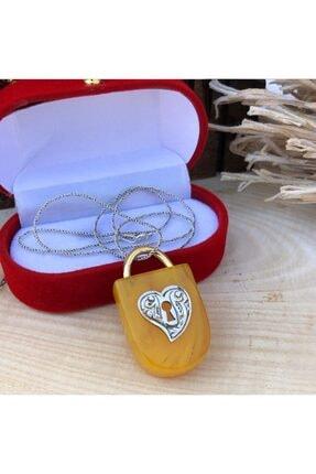 Telkari Dünyası Kadın Kehribar Taşlı Kalp Kilidi El İşi Gümüş Kolye 2