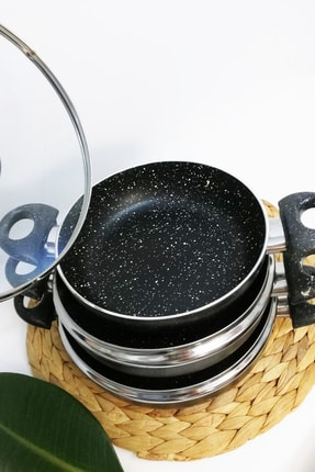 Zem Premium Granit Omlet Set 6 Parça Granit Tencere Seti (18+20+22) 2