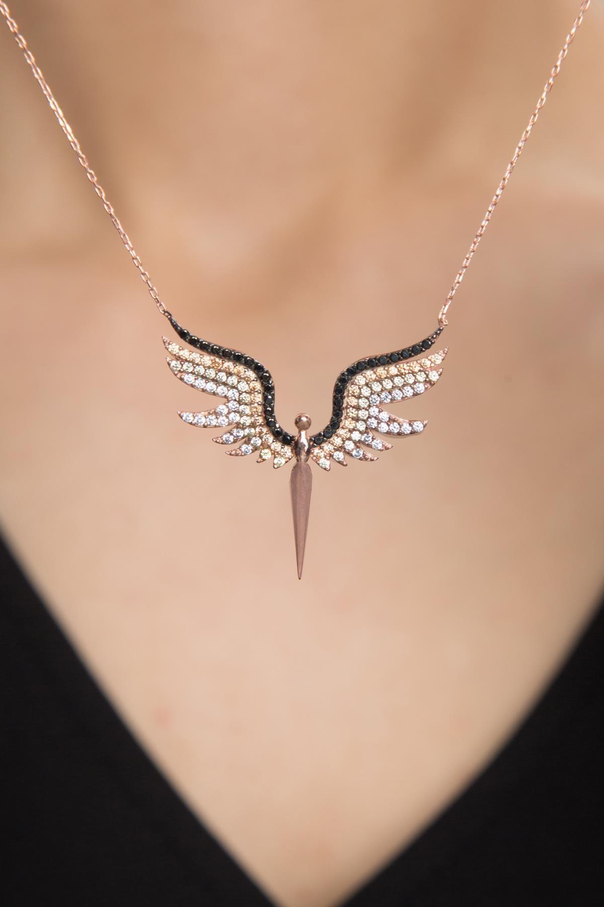 Elika Silver Kadın Melek Model Zirkon Taşlı 925 Ayar Gümüş Kolye PP2346 0