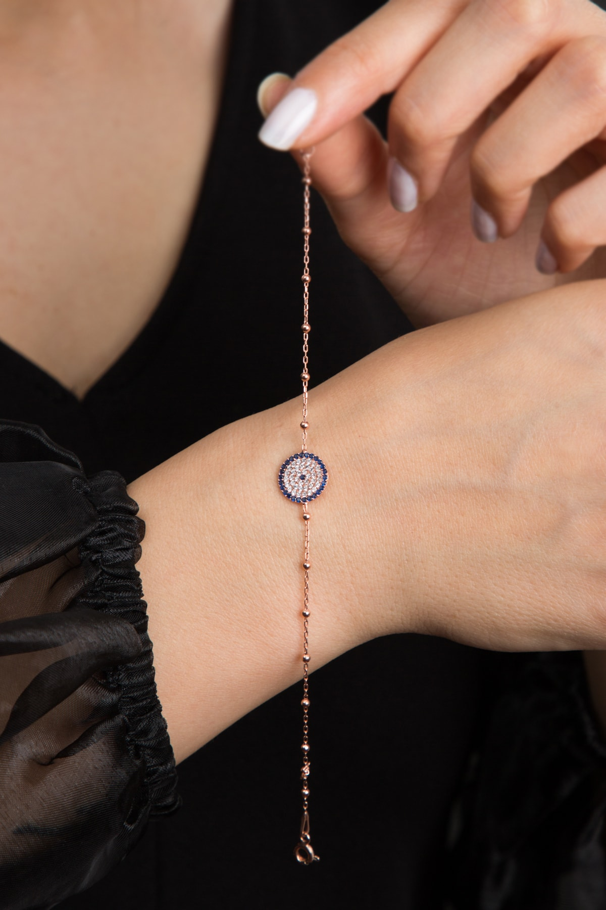 Elika Silver Kadın Nazar Model Rose Kaplama 925 Ayar Gümüş Bileklik 3