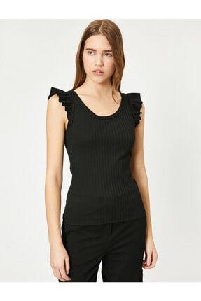 Koton Kadın Siyah Omuzları Fır Fır Detaylı Bluz 2