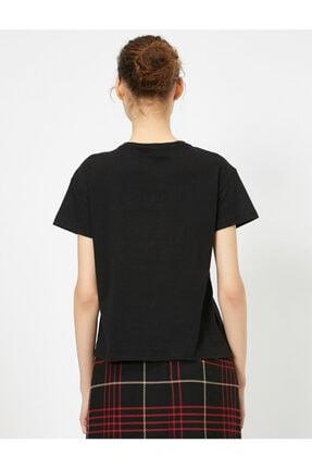 Koton Kadın Siyah Yazili Baskili T-shirt 0YAL18526IK 3