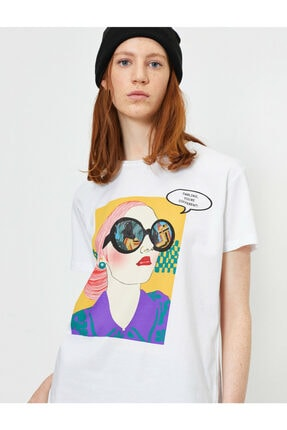 Koton Kadın Beyaz Baskili T-shirt 1