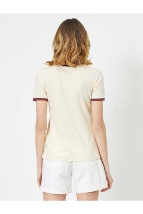 Koton Kadın Ekru Yazili Baskili T-shirt 3