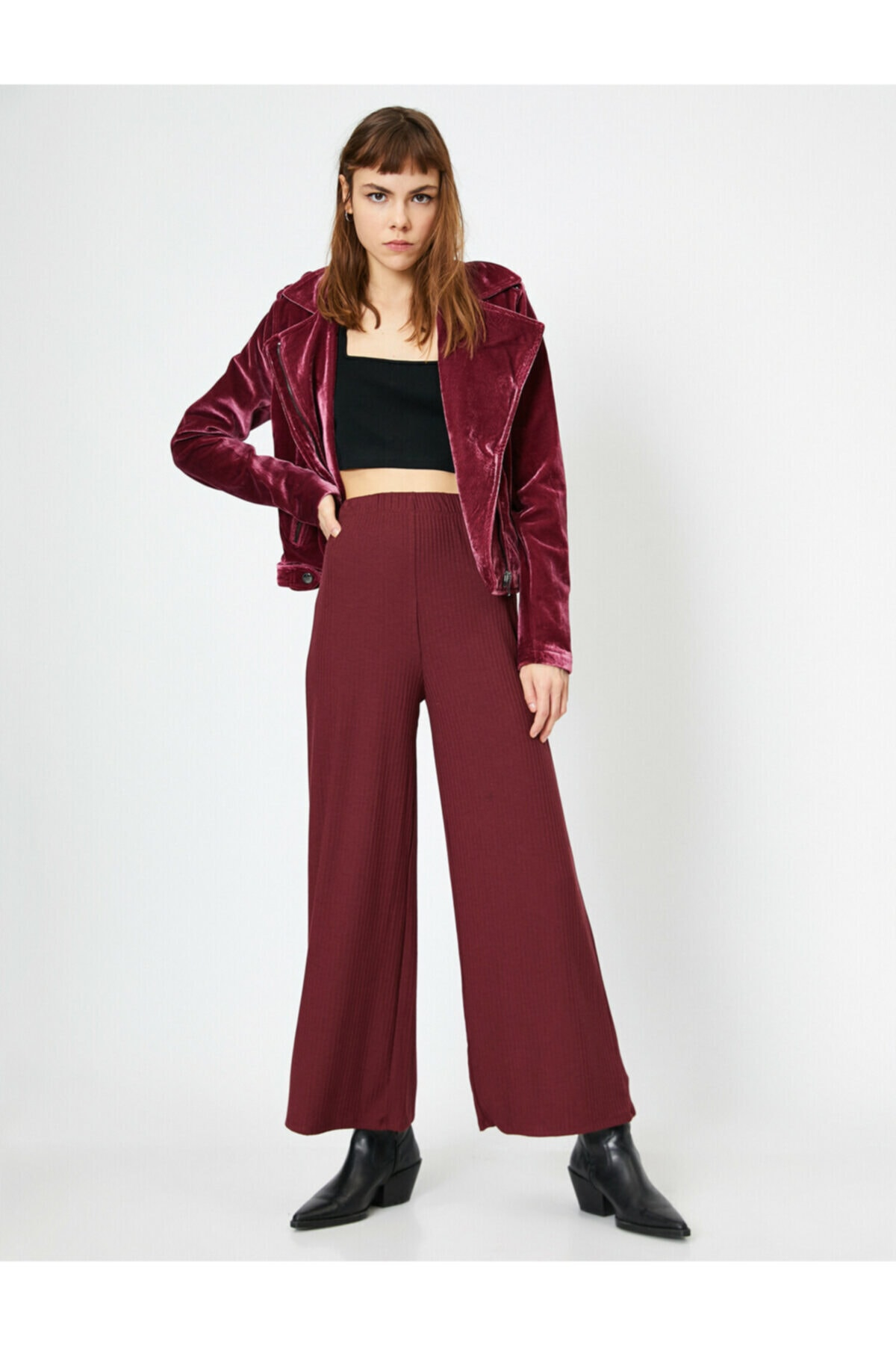 Kadın Bordo Geniş Paça Fitilli Pantolon